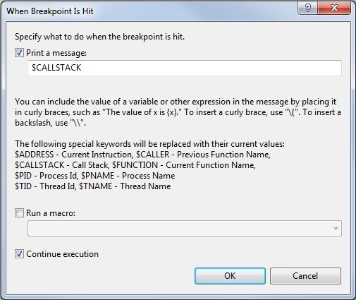 "Screenshot of ""When Hit..."" dialog"